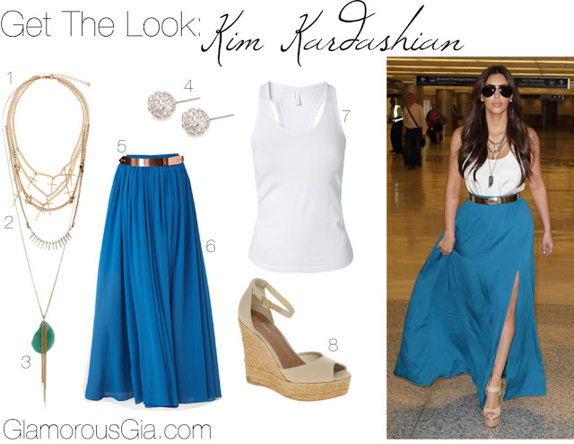 Get The Look: Kim Kardashian blue Maxi Skirt for less with ASOS, Forever 21, Nelly.com.