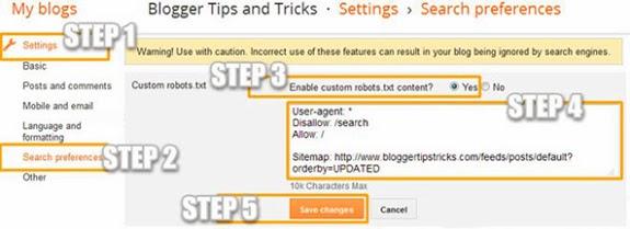 إعداد ملف robots.txt لمدونات blogger