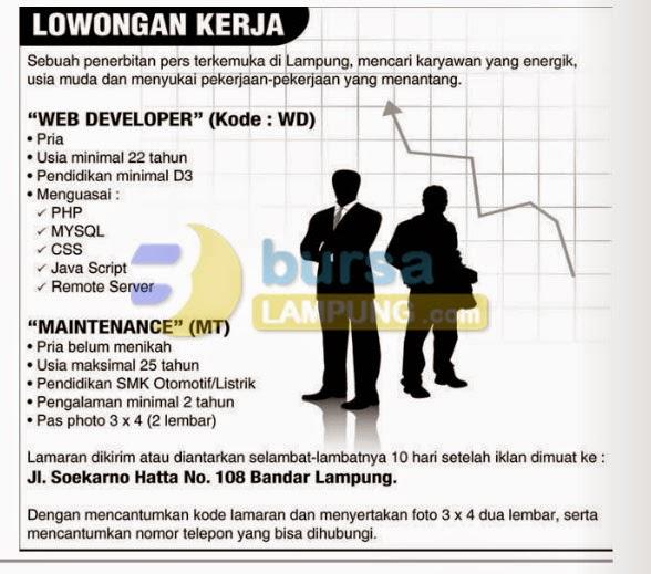 Lowongan Kerja Web Develper 2014 Terbaru di Lampung