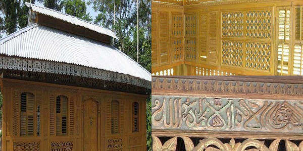Hundred Years Wood (Kath) Mosque in Pirojpur