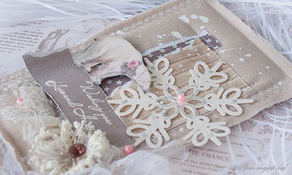 открытка снежинка, медведь белый, мягкая открытка, открытка из ткани