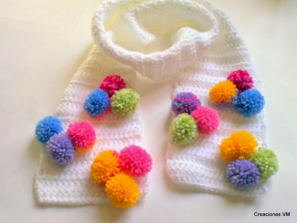 Bufandas infantiles con pompones