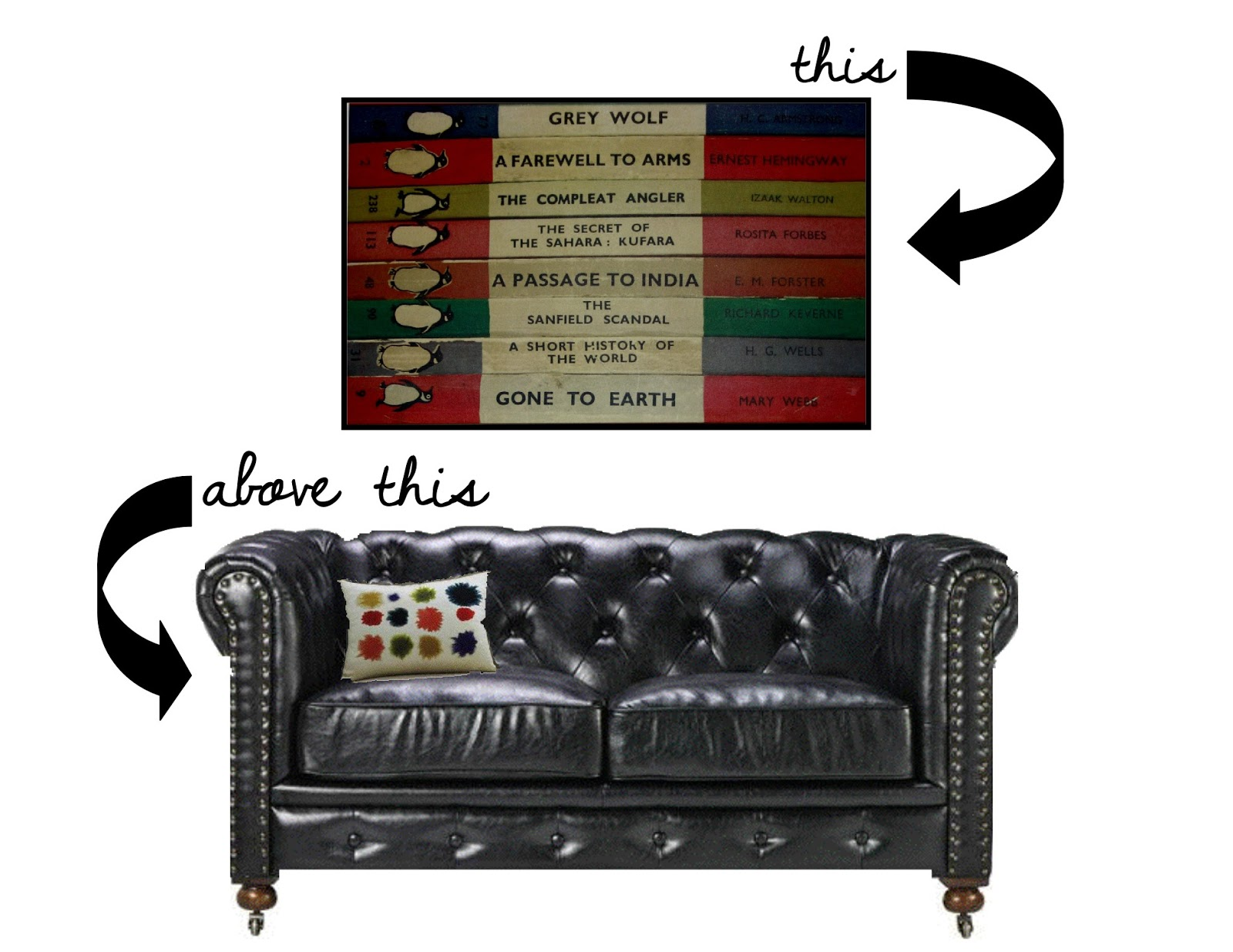 Penguin book art and Chesterfield loveseat