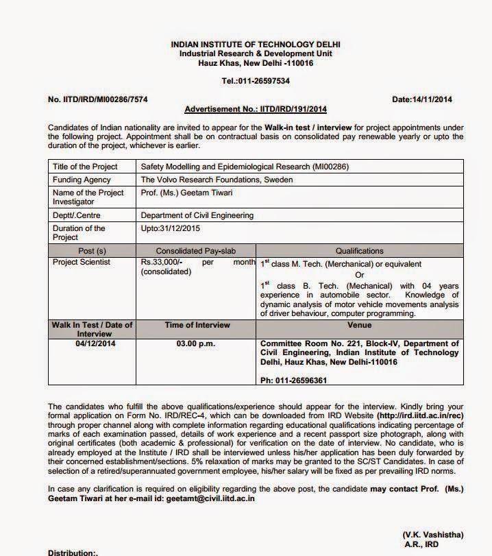 Walk-in-Interview IIT Delhi,Nov-2014 | Recruitment 2015 ...