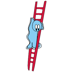 scared cartoon person on a ladder