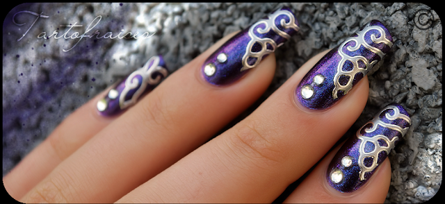 Violet Nail Art with Silver Antique Pattern and Clear Stones