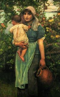 Pintura de mujer con niño y cántaro