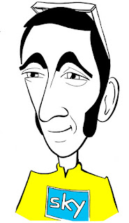Bradley Wiggins caricature by Ian Davy Brown