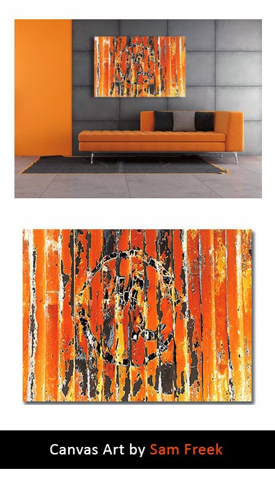 canvas art, modern, wall art, industrial art, urban art, abstract, orange, canvas wall art print