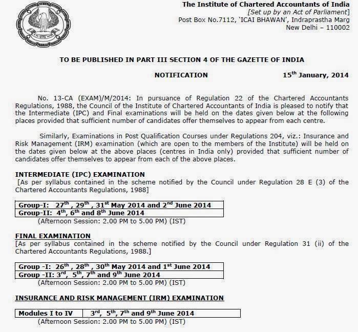 IPC & CA Final Examinations May 2014 (Exam Dates)