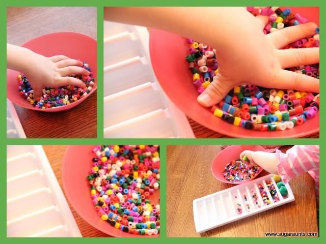 3 rainbow sensory bins the ot toolbox - Put cotton ball trash can ...