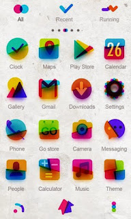 Screenshots of the Color Evil GO Launcher Theme for Android mobile, tablet, and Smartphone.