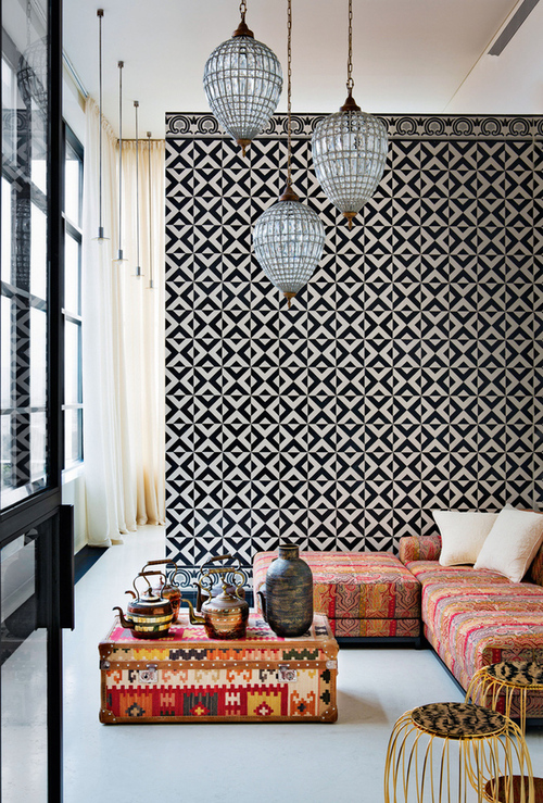 Moroccan interior design Decorative wall tiles for living room