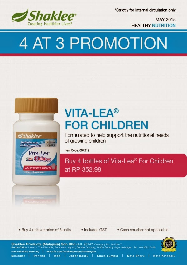 PROMOSI SHAKLEE APRIL 2015: VITA-LEA FOR CHILDREN (BELI 3 PERCUMA 1)
