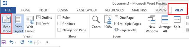 Xem tài liệu với chế độ ngược trong Word 2013 1