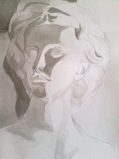 busto de escayola en tinta