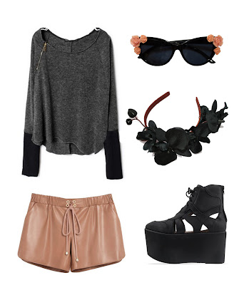 grungy zip jumper,nude leather gym shorts, cut out jeffrey campbell platform boots, orchid hairband, cat eye embellished sunglasses