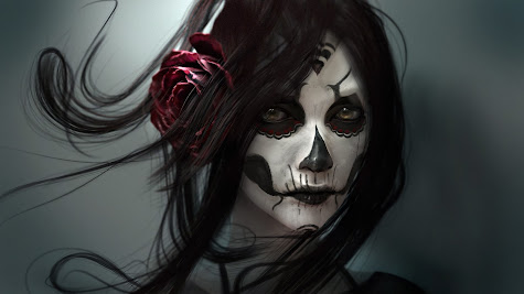 Beautiful girl face skull make up tattoo hd wallpaper