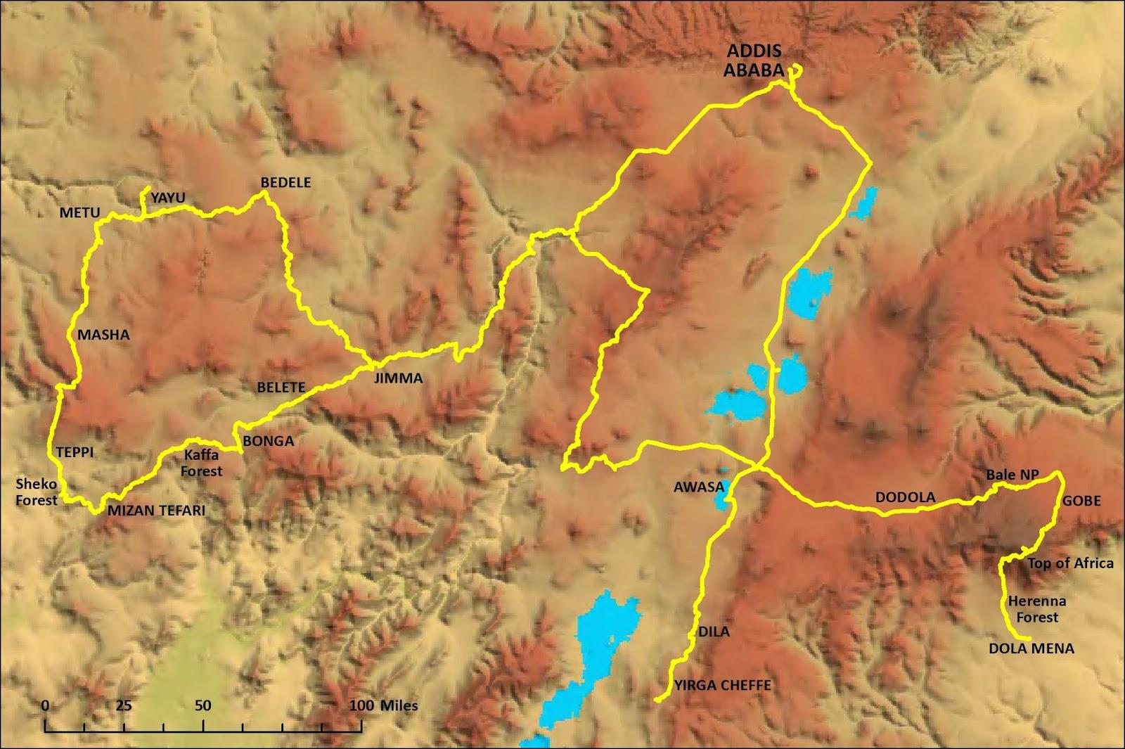 map of the team s route through ethiopia