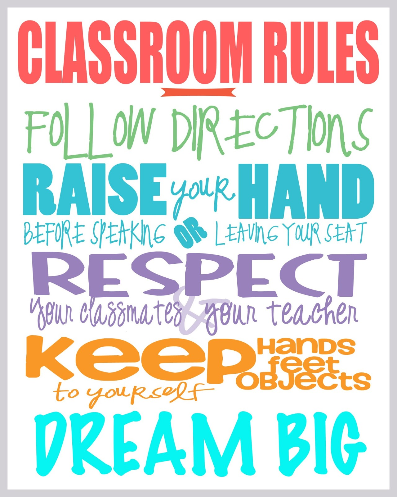 It's just a picture of Delicate Free Printable Classroom Rules Poster