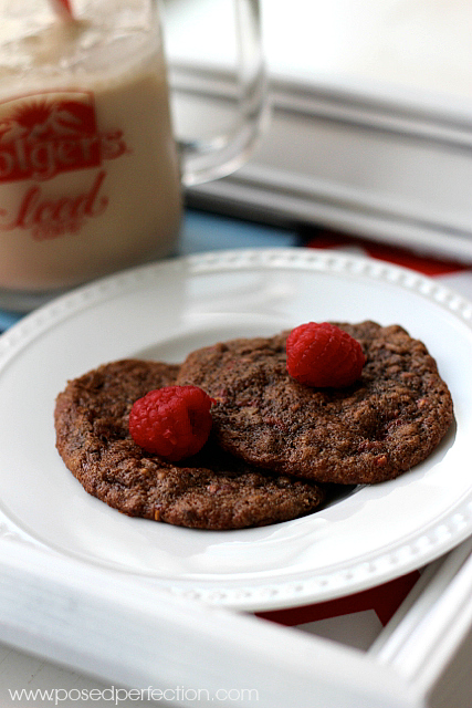 These decadent Chocolate Raspberry Oatmeal Cookies are soft and chocolatey, with bits of raspberry throughout.