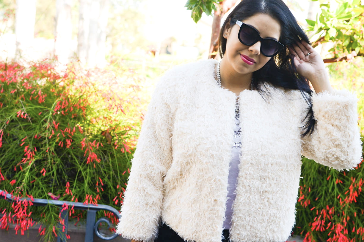 socal fashion blogger, fall 2015 outfit, furry cropped jacket, cabi blogger, cabi fall 2015