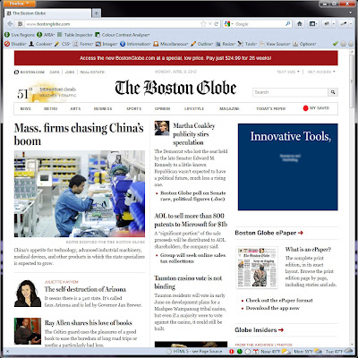 Screen shot of http://www.bostonglobe.com/.