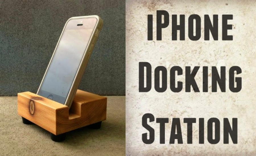 recycled wood iphone docking station