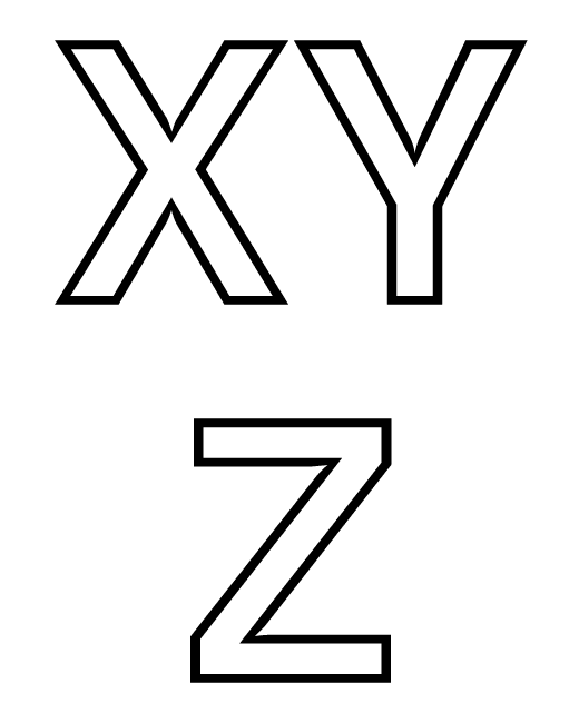 Letras do Alfabeto - XYZ