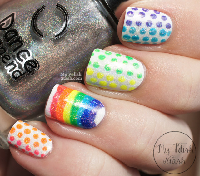 rainbow dot nail design
