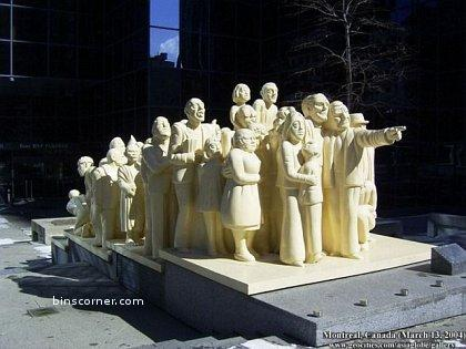 group of people as statue