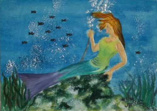 Weeki Wachee Mermaid A Vintage Florida Oil Painting By Judy Batterson