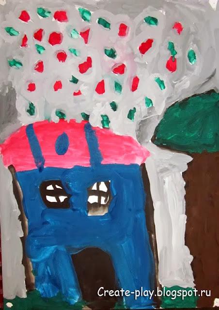 детский рисунок фейерверк