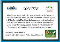 5ª Conferencia Municipal de Saúde de Macajuba dia 10 de Julho