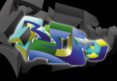 React digital 3d full graffiti art.