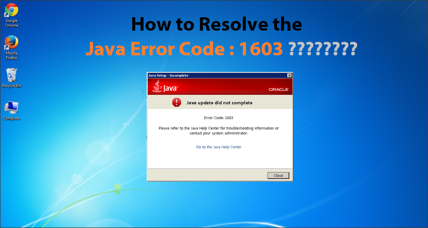HOW TO RESOLVE JAVA ERROR CODE :1603 ? | ToastGuyz
