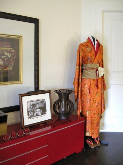 red Ikea media cabinet, Asian influences, kimono, vignette