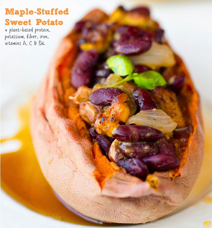 Maple Tempeh-Bacon Chili Beans for Stuffed Sweet Potatoes