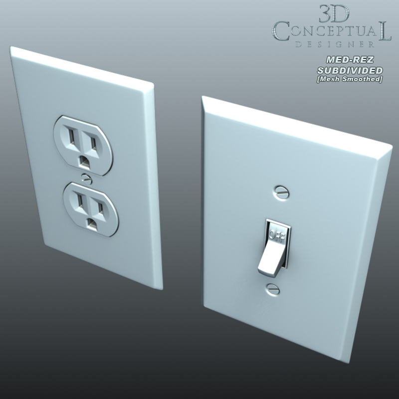 Wall Plug Light Switch : 3DconceptualdesignerBlog: 3D Model Sales: Part XIII-Electrical Light Switch and Wall Outlet