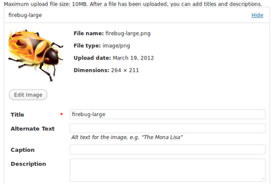 screenshot of the Wordpress media uploader