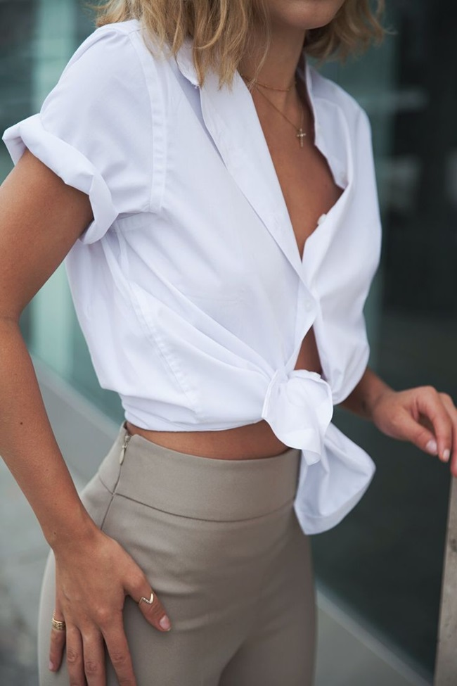 simple white summer shirt dainty ring delicate jewelry