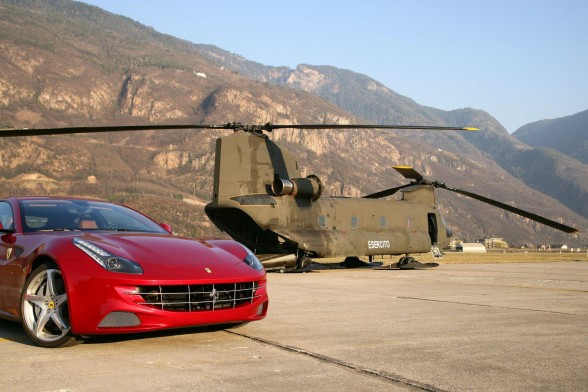 The Ferrari FF at the top of Plan de Corones at 2,350 metres