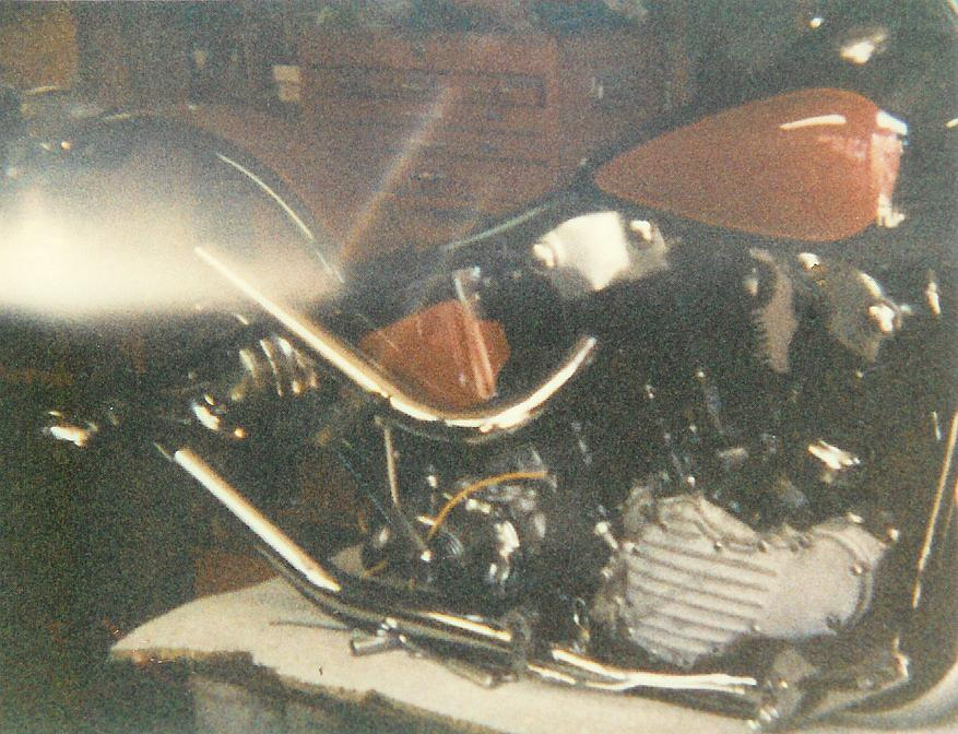 newly rebuild 1947 Knucklehead motor in Panhead frame