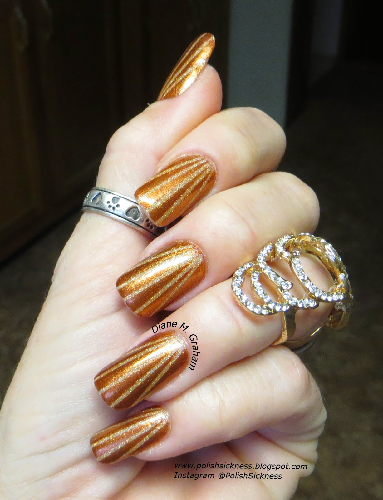 Kleancolor Holo Orange, China Glaze Harvest Moon striping tape mani