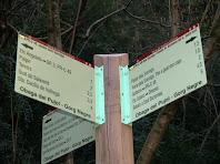 Rètol indicador del PR-C 46 la Ruta del Sorreigs a l'Obaga del Pujol