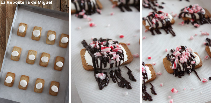 3 imagenes continuas del proceso de elaboración.Galleta con nuebes antes de entrar en el horno, galletas con las nubes fundidas y chocolate negro y trozos de caramelo encima.