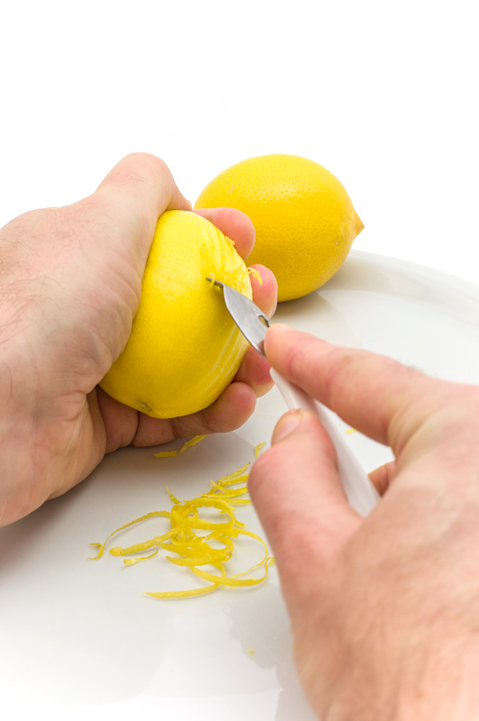 Lemon zest scrapping in action