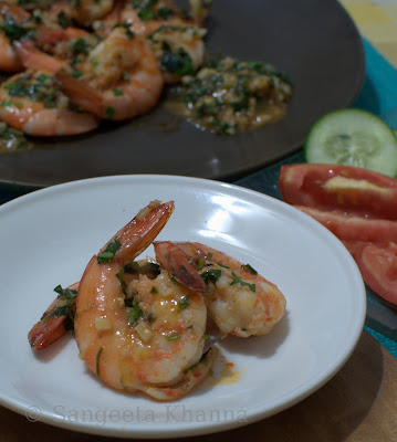 stir fried shrimps and herbs and garlic...