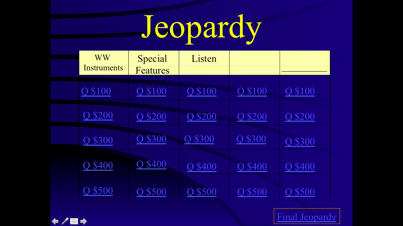 Mrs q 39 s music blog the woodwind family for Jeopardy template with sound effects
