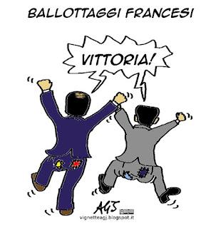 LePen, Sarkozy, Hollande, Ballottaggi francesi, elezioni francia, satira vignetta